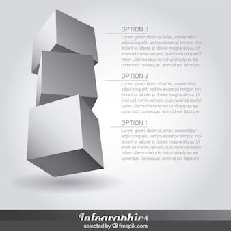 Tres Infografía pasos en forma de cubo