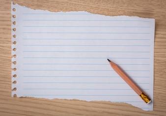 Trozo de papel de libreta con un lápiz