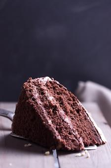 Trozo de pastel de chocolate