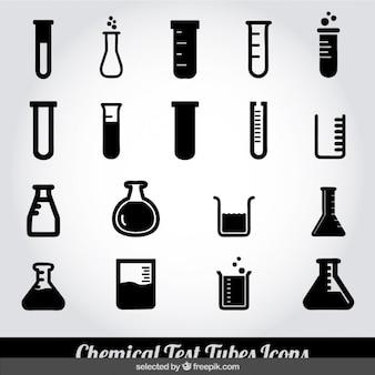Tubos de ensayo químico Iconos monocromáticos