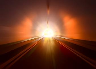 Túnel de carretera, noche iluminada