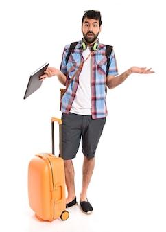 Turista, haciendo, sin importancia, gesto