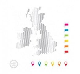Uk mapa de puntos con alfileres de colores del mapa