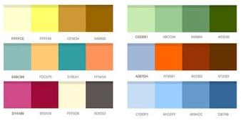 un conjunto de combinaciones de colores
