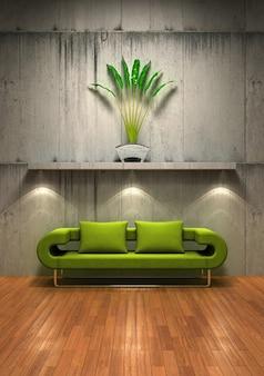 un sofá verde con el material de la pared vieja foto