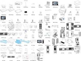 una gran variedad de material de equipo línea de productos de dibujo vectorial