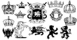 Unicornio, el león heráldico Escudo de Armas vectorial