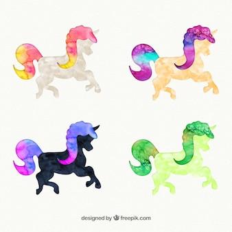 Unicornios pintados a mano