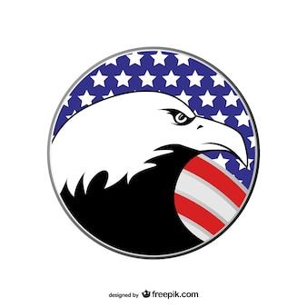 Cabeza de águila con bandera de Estados Unidos