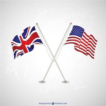 Banderas de Estados Unidos y Reino Unido