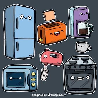 utensilios de cocina en estilo de dibujos animados