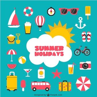 Vacaciones de verano iconos