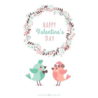 Felicitación de San Valentín con pájaros