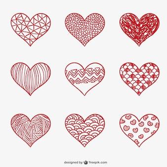 San Valentín corazones de bosquejo