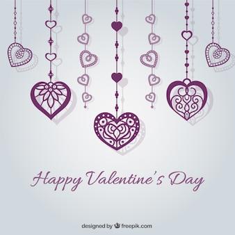 Tarjeta de San Valentín con corazones morados