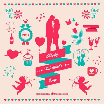 Pack de elementos de San Valentín