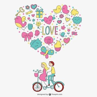 Tarjeta encantadora de corazón de San Valentín