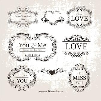 Etiquetas ornamentales de San Valentín
