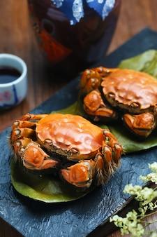 Vapor, cangrejos, China, Yangcheng, lago, piedra, tabla