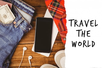 Vaqueros, teléfono y un mensaje de viajar