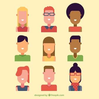 Variedad de avatares animados