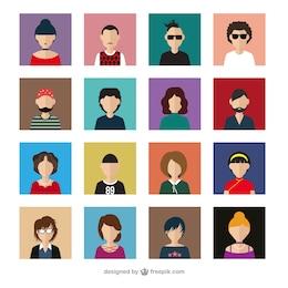 Variedad de avatares modernos