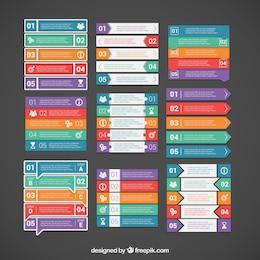 Variedad de banners de colores infográficos
