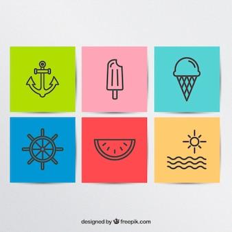 variedad de coloridos iconos de verano