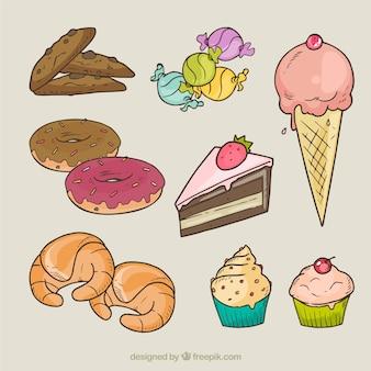 variedad de dulces ilustración
