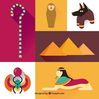 Variedad de elementos de la cultura egipcia