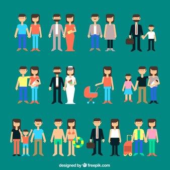 Variedad de familias iconos