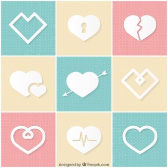 Variedad de iconos de corazón