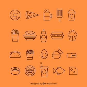 Variedad de iconos de los alimentos