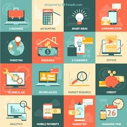 Variedad de iconos de negocios