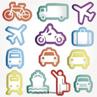 Variedad de iconos de transporte