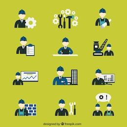Variedad de iconos ingeniero de la construcción