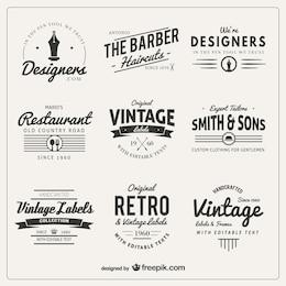 Variedad de insignias de estilo retro