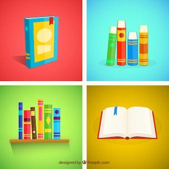 Variedad de libros en diseño plano