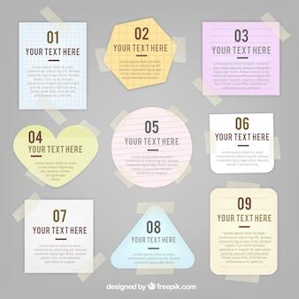 Variedad de notas con cinta adhesiva