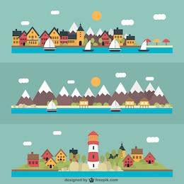 Variedad de paisajes marinos