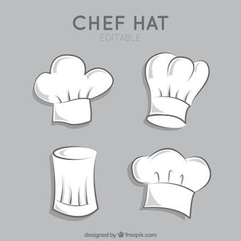 Variedad de sombreros del cocinero