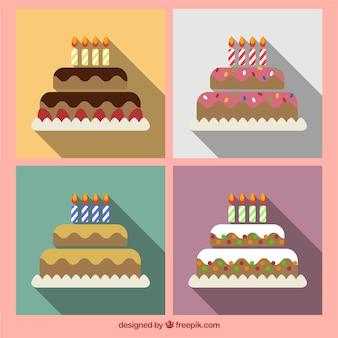 Variedad de tartas de cumpleaños