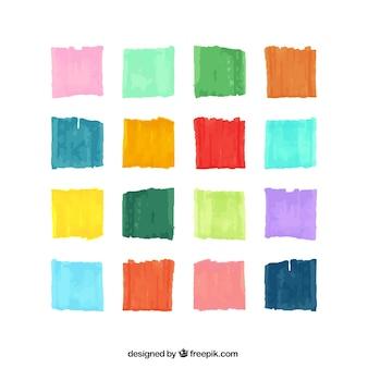 Variedad de trazos de pincel de acuarela
