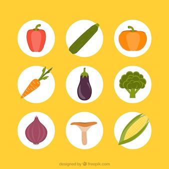 Variedad de verduras iconos