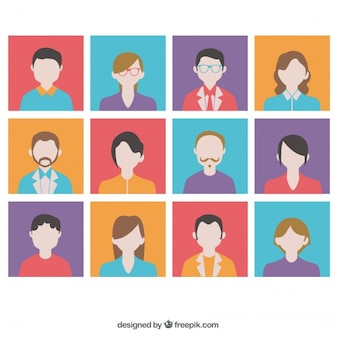 Variedad de avatares coloridos