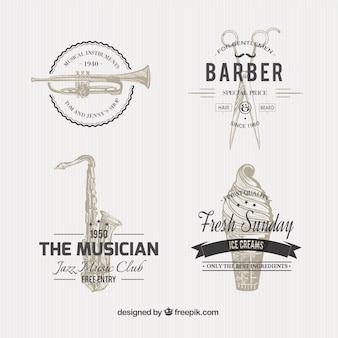 Variedad de insignias ilustradas