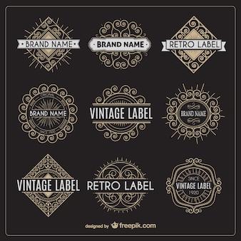Variedad de etiquetas retro