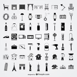 varios elementos del bosquejo de los elementos del vector de estilo de vida material