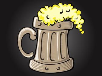 Vaso de cerveza vector estilizada