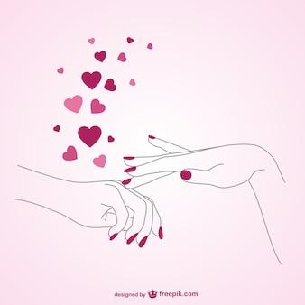 Vector amor por la manicura